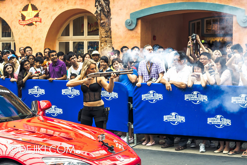 Universal Studios Singapore - Grand Opening 2011 - Pre-parade stunt show