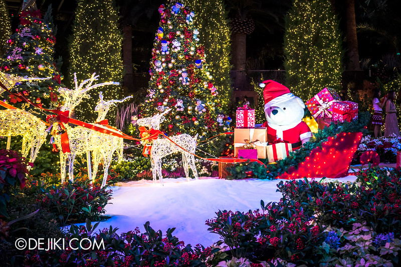 Gardens by the Bay - Yuletide in the Flower Dome at night - Santa Bear