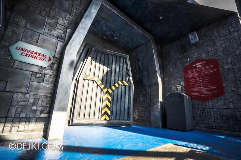 Universal Studios Singapore - Battlestar Galactica: HUMAN vs CYLON dueling roller coaster ride - HUMAN queue entrance Universal Express lane door
