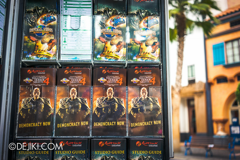 Universal Studios Singapore - Park Update August 2014 - HHN4 brochures next to park maps