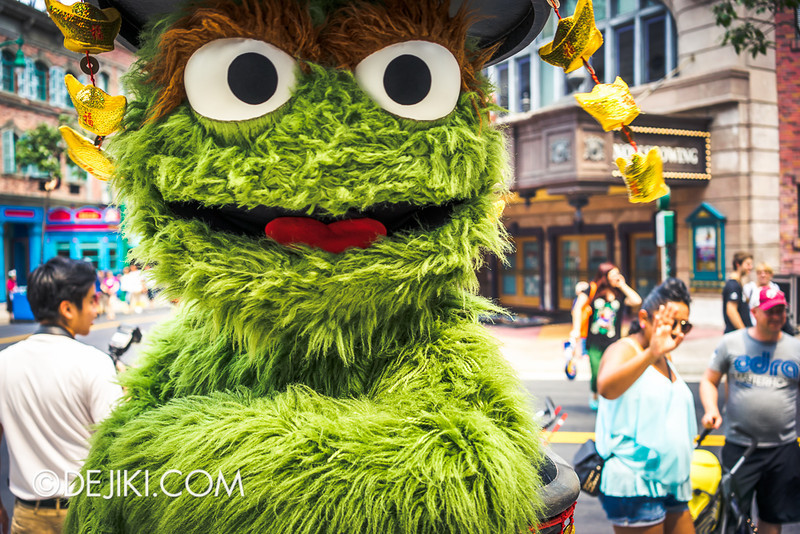 Universal Studios Singapore - Oscar the Grouch in Chinese New Year outfit