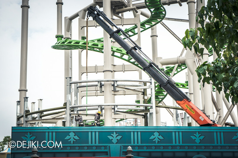 Universal Studios Singapore - Park Update September 2014 - Puss in Boot's Giant Journey - scenic prop structure surrounding roller coaster lift hill track