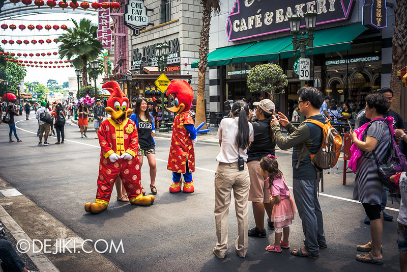 Universal Studios Singapore - Photo-op with Woody Woodpecker and Winnie Woodpecker, Chinese New Year Outfits