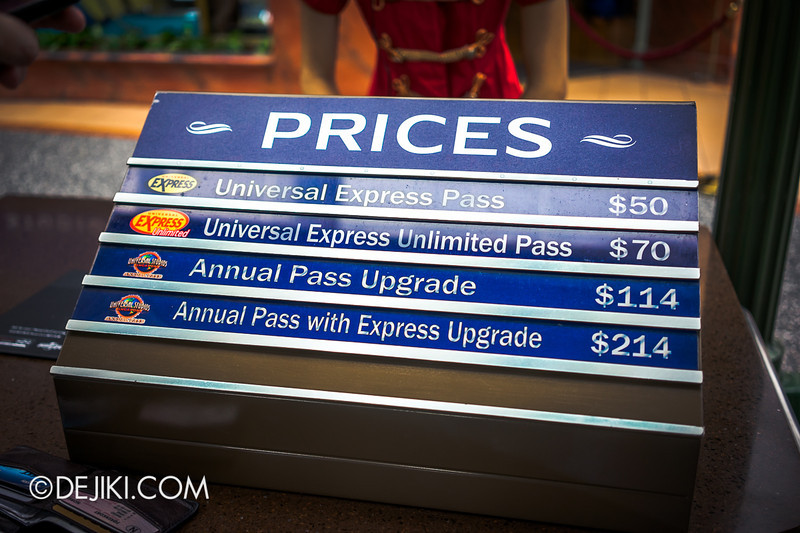 Universal Studios Singapore - Park Update June 2014 - Park Ticket Upgrade Prices for Annual Passes 2014 ; USS Universal Express Pass Prices 2014