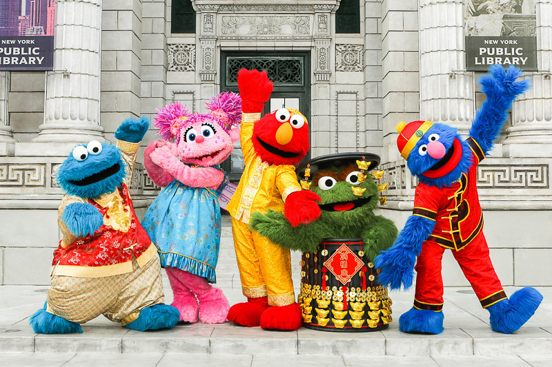 Universal Studios Singapore - Sesame Street characters in Chinese New Year outfits