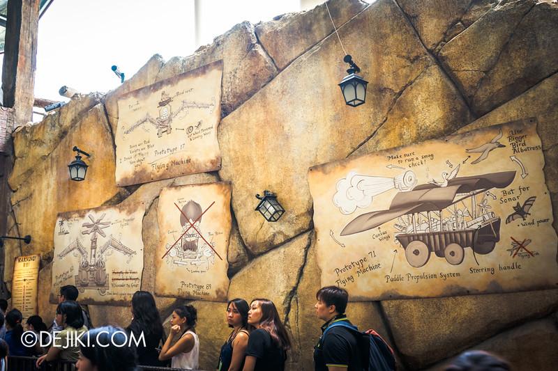 Puss in Boots' Giant Journey ride at Universal Studios Singapore - Giant's Castle queue 6 / Humpty Alexander Dumpty's designs