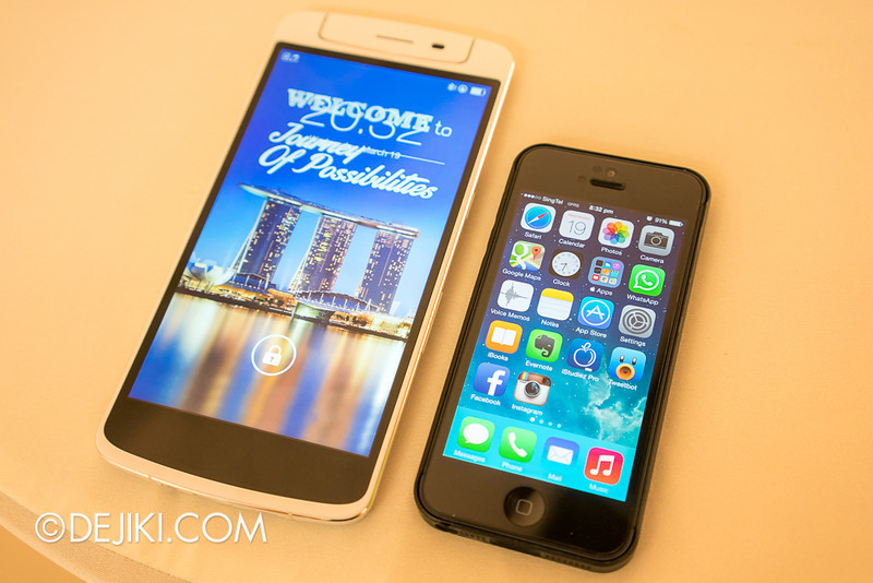 Oppo N1 - size compared with iPhone 5
