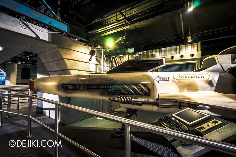 Universal Studios Singapore - Battlestar Galactica: HUMAN vs CYLON dueling roller coaster ride - HUMAN queue / Colonial Viper Mark II - Starbucks Kara Thrace - side