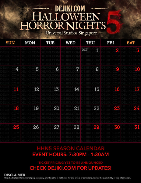 Universal Studios Singapore - Park Update June 2015 - HHN5 Halloween Horror Nights 5 Event Calendar showing all HHN5 event nights for 2015 Halloween season