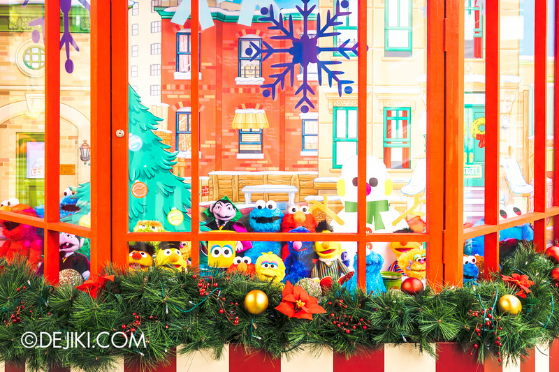 Universal Studios Singapore - Park Update December 2014 - Christmas at Santa's Land / Store window with Sesame Street items