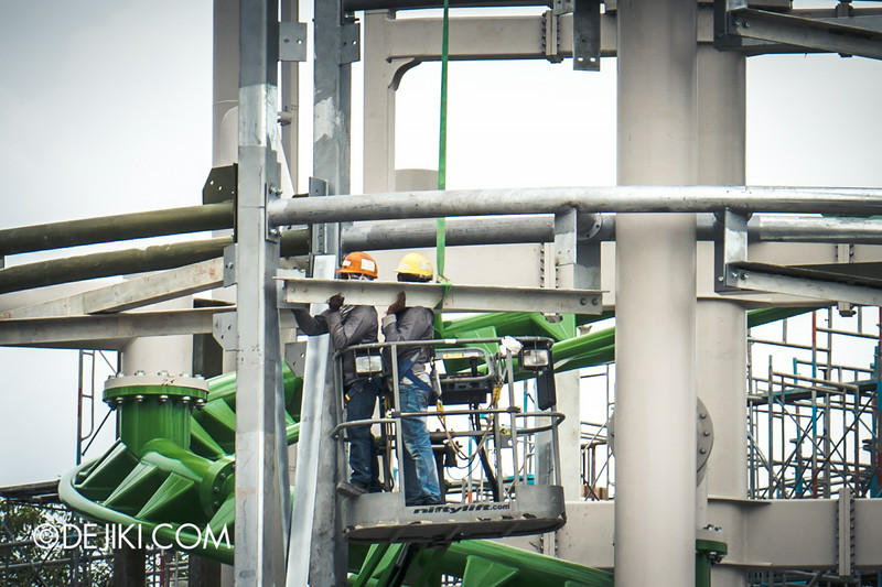 Universal Studios Singapore - Park Update September 2014 - Puss in Boot's Giant Journey - scenic prop structure surrounding roller coaster lift hill track 2