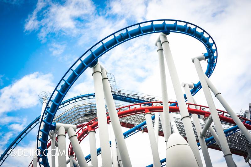 Universal Studios Singapore - Park Update October 2014 - Battlestar Galactica BSG roller coaster / the dramatic blue