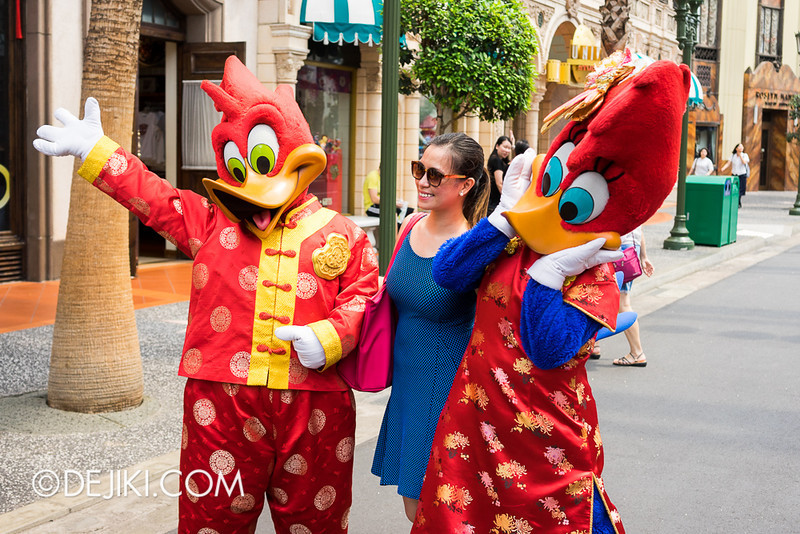 Universal Studios Singapore - Woody Woodpecker and Winnie Woodpecker in Chinese New Year Outfits
