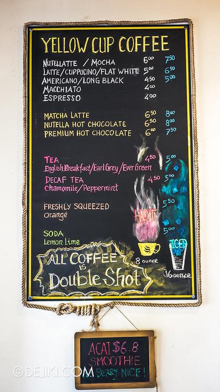Yellow Cup Coffee 4 - Menu