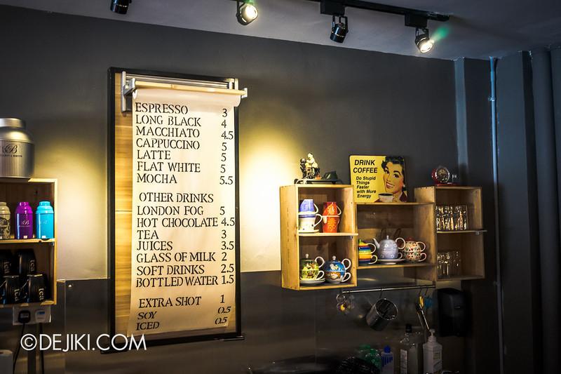 Carry On Cafe 15 - Drinks menu