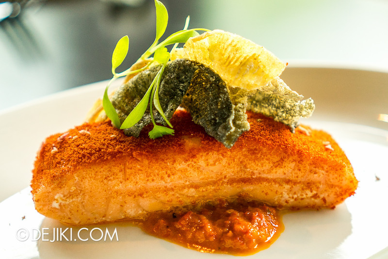 ESPA Tangerine - Chef Forest's Sous Vide Salmon Fillet with Red Capsicum Puree & Tamarind Sauce
