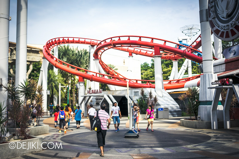 Universal Studios Singapore - Park Update July 2014 - BSG Battlestar Galactica roller coaster repair works - new update 1