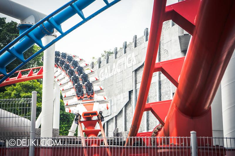 Universal Studios Singapore - Park Update February 2015 - Battlestar Galactica dueling roller coasters reopening - Human train alternate
