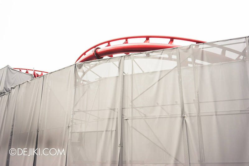 Universal Studios Singapore - Park Update July 2014 - BSG Battlestar Galactica roller coaster repair works 2
