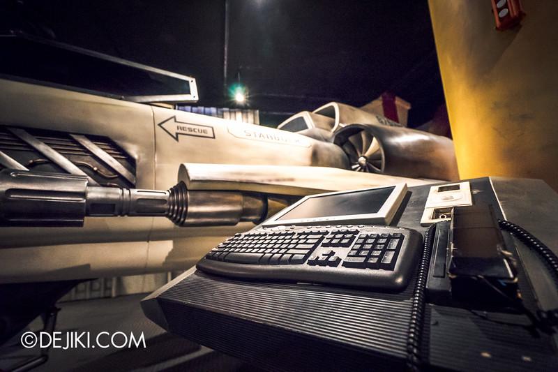 Universal Studios Singapore - Battlestar Galactica: HUMAN vs CYLON dueling roller coaster ride - HUMAN queue / Colonial Viper Mark II - Starbucks Kara Thrace - Deck terminal