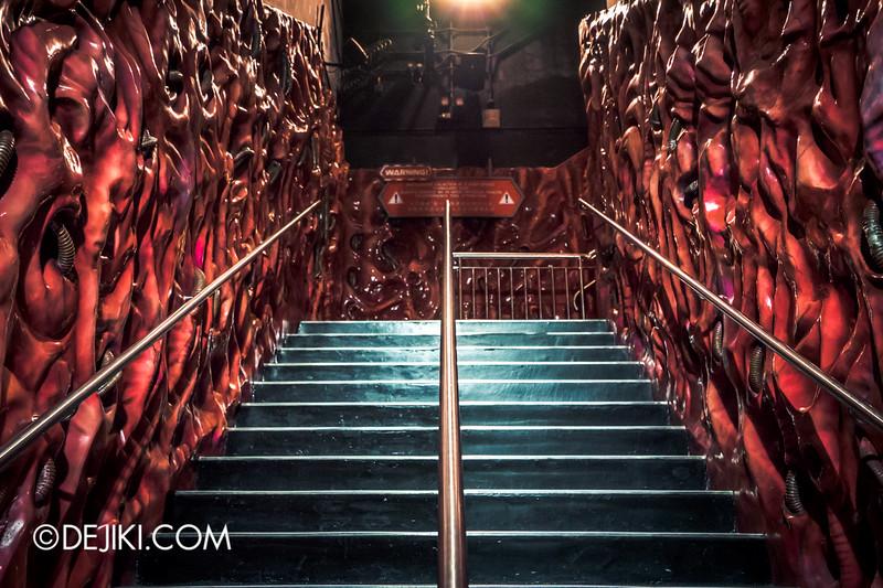 Universal Studios Singapore - Battlestar Galactica: HUMAN vs CYLON dueling roller coaster ride - CYLON Basestar / Staircase to Level 2,  Organic resin