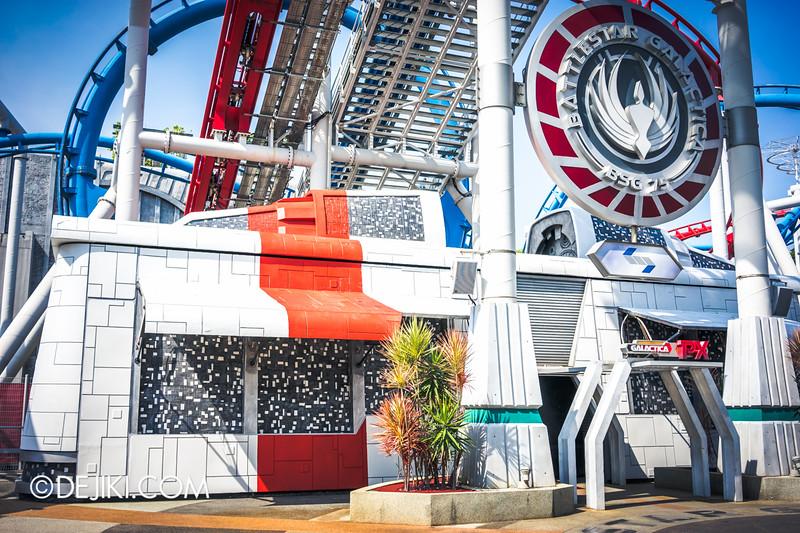 Universal Studios Singapore - Park Update March 2015 - Battlestar Galactica BSG Galactica PX repainted