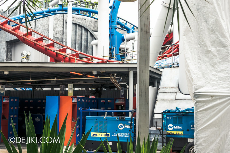 Universal Studios Singapore - Park Update July 2014 - BSG Battlestar Galactica roller coaster repair works 3
