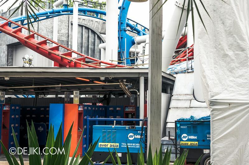 Universal Studios Singapore - Park Update July 2014 - BSG Battlestar Galactica roller coaster repair works 3