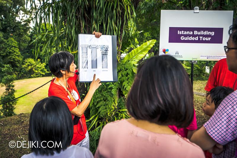 The Istana, Singapore - Istana Main Building Tour, guide explaining column capitals of the Istana Building