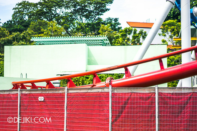 Universal Studios Singapore - Park Update August 2014 - Battlestar Galactica repair update 1