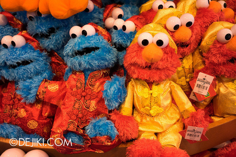 Universal Studios Singapore - Cookie Monster and Elmo plush toys, Chinese New Year edition