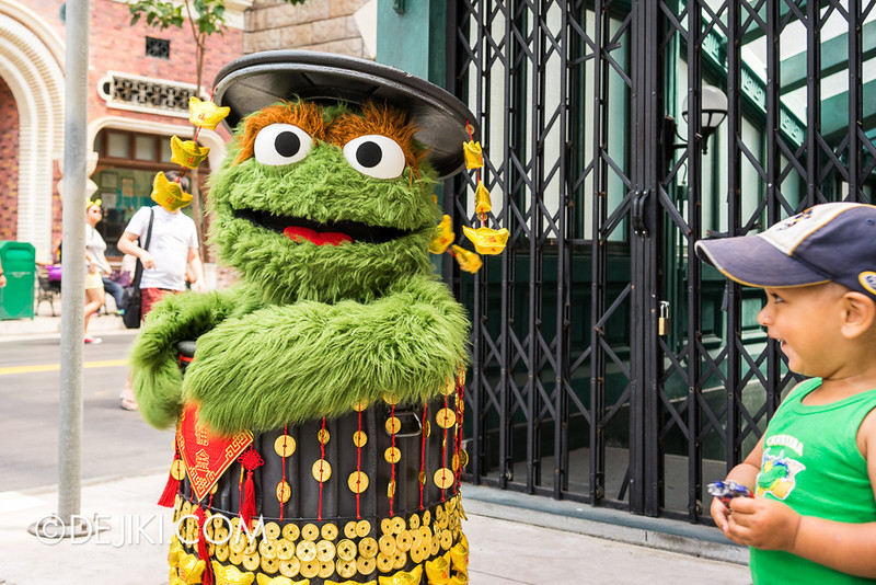 Universal Studios Singapore - Oscar the Grouch in Chinese New Year outfit 2