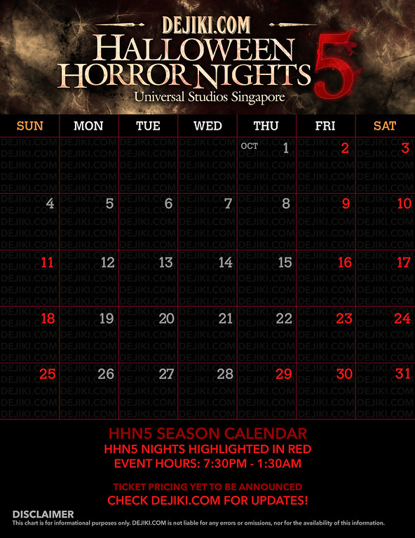 Universal Studios Singapore - Park Update July 2015 - Halloween Horror Nights 5 event calendar