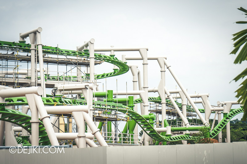 Universal Studios Singapore - Park Update September 2014 - Puss in Boot's Giant Journey - roller coaster track photos showing drops
