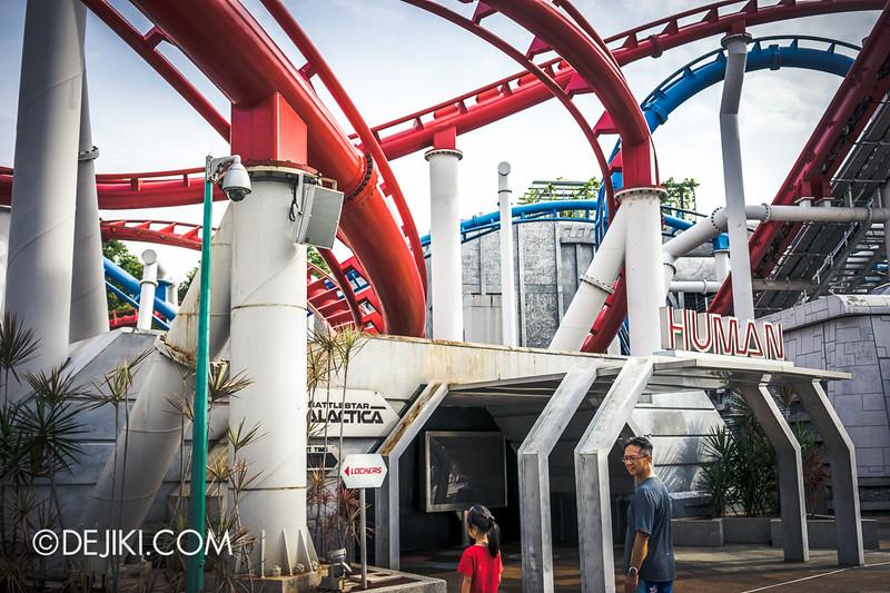 Universal Studios Singapore - Park Update July 2014 - BSG Battlestar Galactica roller coaster repair works - new update 2