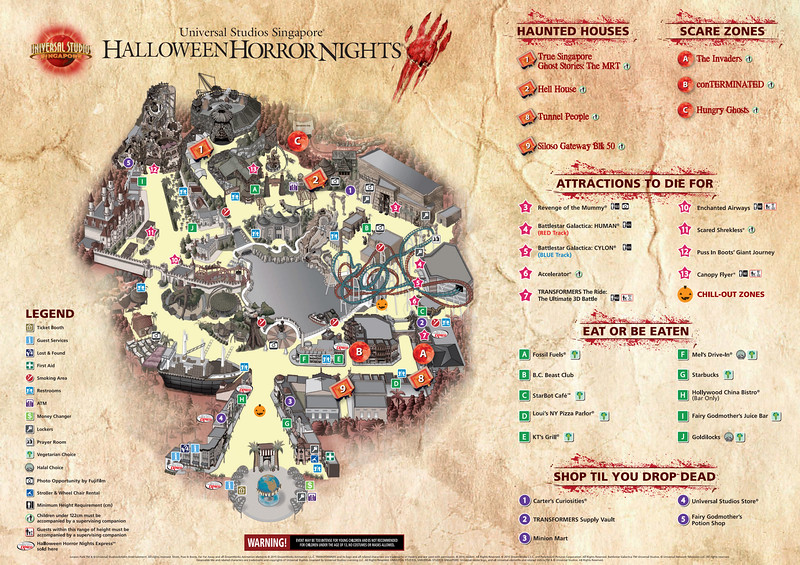 Universal Studios Singapore - Halloween Horror Nights 5 Before Dark Day Photo Report 5 / FINAL Event Map