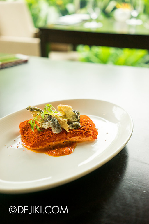 ESPA Tangerine - Chef Forest's Sous Vide Salmon Fillet with Red Capsicum Puree & Tamarind Sauce 2