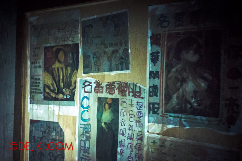 Halloween Horror Nights 4 - Jing's Revenge haunted house - School corridors and noticeboard