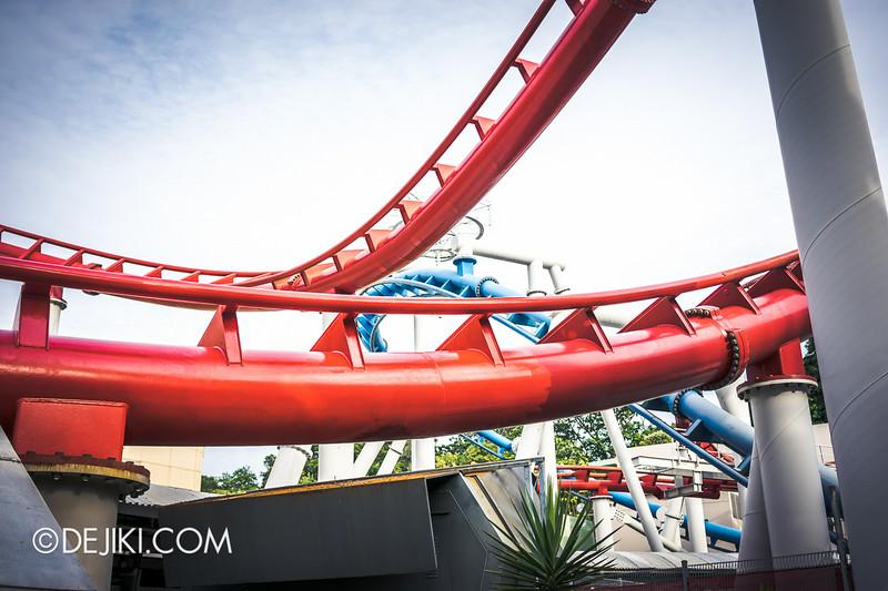 Universal Studios Singapore - Park Update July 2014 - BSG Battlestar Galactica roller coaster repair works - new update 3