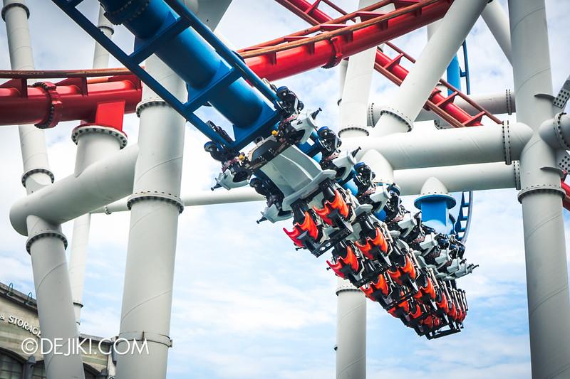Universal Studios Singapore - Park Update February 2015 - Battlestar Galactica dueling roller coasters reopening - Cylon speed increased 2