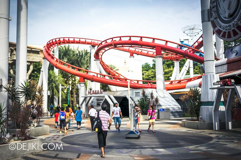 Universal Studios Singapore - Park Update July 2014 - BSG Battlestar Galactica roller coaster repair works - new update 1