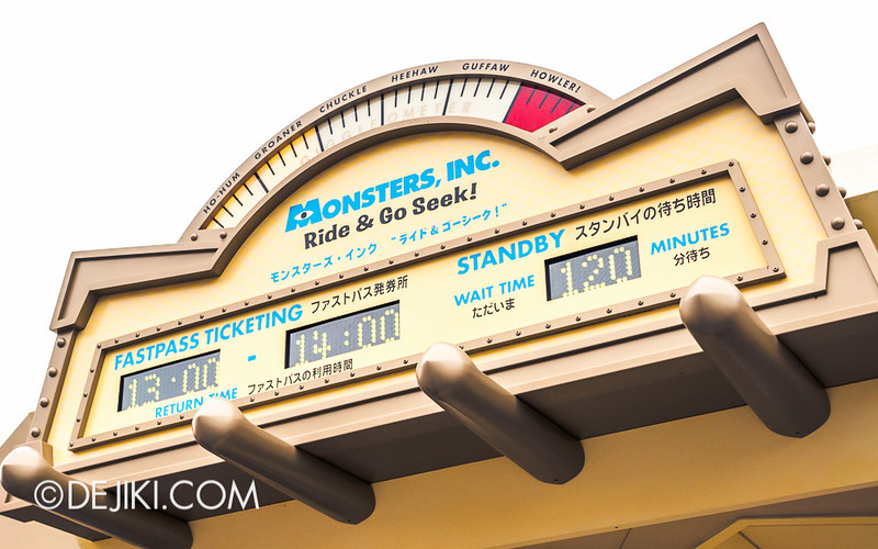 Monsters, Inc. Ride & Go Seek Fastpass Ticketing Distribution and Standby Wait Time